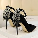Elegant Crystal Pointed Toe Pumps Flock Fashion High Heels