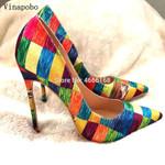 High Heel Rainbow Printed Pointed Toe Stiletto High Heel