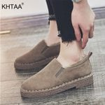 Warm Plush Loafers Comfort Slip On Moccasins Suede Flat Shoes