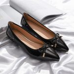 Patent leather loafers bow-tied pointed toe flat shoes