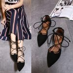Lace Up Thin Ballet Graceful Loafers Flock Pointed Toe Flats Shoes