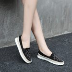 round toe flock sequined loafers plaid crystal glitter flat shoes