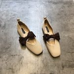 square toe  soft bottom princess bow tie flat shoes
