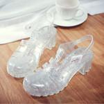 Square High Heels Transparent Platform Bling Jelly Sandals