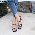 Open Toe Chunky Med Heel Party Narrow Ankle Strap Sandals