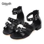 Low Heels Fashion Open Toe Soft Leather Gladiator Sandals