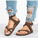 Casual Leather Flip Flop Beach Belt Buckle Leather Flat Sandals