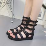 Zipper Leather Peep Toe Rome Style Casual Fashion Gladiator Sandals