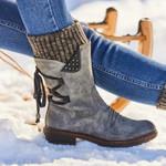 Snow Cowboy Knee High Platform Warm Causal Mid Calf Boots
