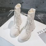 Leather Lace Up Snow Fashion Platform Warm Plush Fur Ankle Boots