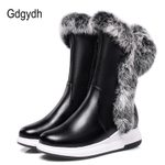 Cotton Zipper Thick Plush Round Toe Animal Fur Snow Boots