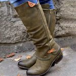 Vintage British PU Leather Low Zip Sewing  Mid Calf Boots