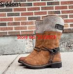 Luxury Warm Zip Booties  Vintage Casual Mid Calf Boots