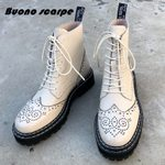 Chunky Ankle Genuine Leather Motorcycles Boots