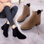Slip-on Round Toe Square Casual Flock Ankle Boots