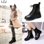 Fashion Lace-Up Thick Round Toe PU Leather Boots