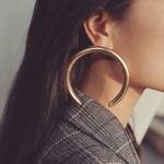 Trendy Big Open Round Drop Circle Metal Earring