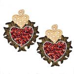 Fashion Trendy Crystal Long Tassel Cartoon Heart Earrings