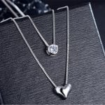 Necklace Double Layer Chain Zircon Heart Pendants Necklaces