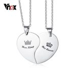 Pendant Heart Stainless Steel Jewelry Crown Couple Necklace