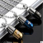 Pill Cross Stainless Steel fashion Cool Open Capsule Necklace