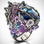 Spider Flower Wedding Statement Crystal Ring