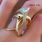 Zircon Fashion Vintage Luxury Geometric Hollow Ring