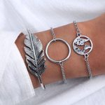 Fashion Vintage Big Leaf Loop Map Charm Bracelets
