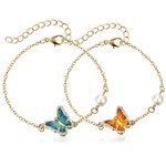 Oil Painted Butterfly Charm Pearl Fashion Bracelet