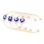 Luxury Fashion Jewelry Trendy Blue Evil Eye Open Cuff Bangle