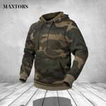 Military Pocket Full Sleeve Camouflage Hat Casual Fleece Hoodies