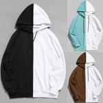 Hood Half Cool Plain Patchwork Cotton Long Sleeve Hoodies