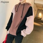 Hooded Leisure Letter Printed Patchwork Korean Pullovers Hoodie