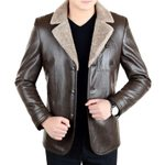 Casual Slim Long Sleeve Warm Leather Motorcycle Jacket