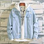 Hole Denim Jacket Men Fashion Wash Solid Color Casual Denim Jacket Coat Men Streetwear Loose Hip Hop Bomber Jacket Man Clothes