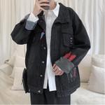 Fashion Printing Washed Casual Loose Bomber Denim Jacket