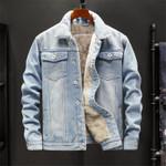 Fashion  Outwear Cowboy Warm Fleece Denim Jacket