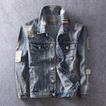 Fashion Retro Embroidery Stripe Design Ripped Denim Jackets