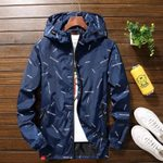 hooded Windbreaker Casual Outerwear Denim jacket