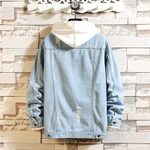 Slim Fashion Washed Casual Bomber Hole Denim Jacket