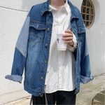 Fashion Wash Cartoon Print Casual Denim Jacket