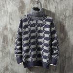 Warm Fashion Print Casual Knit Pullover High Collar Sweater