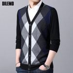 Cardigan Knit V Neck Slim Fit Patterns Fashion Sweaters