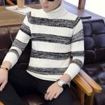 High collar Pullover Cashmere Wool Casual Striped Sweater