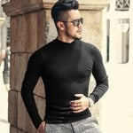Woolen Pullovers Casual Knitted  Slim Fit High Neck Sweater