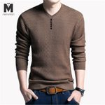 Cotton Long Sleeve Tie Clasp V solid heart-shaped sweater