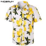 Casual Lemon Printed Cotton Lapel Neck Button Short Sleeve  Shirt