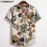 Casual Stand Collar Shirt Printed Cotton Short Sleeve Shirts