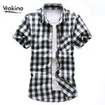 Fashion  Casual  Plaid Chess Short Sleeve Shirt