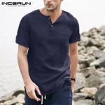 Cotton Casual Henley Short Sleeve Shirt